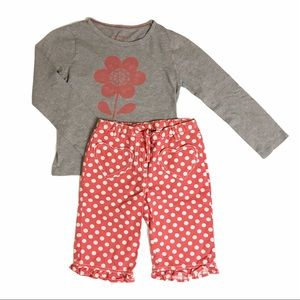 Mini Boden 4/5 Flower and Polka Outfit